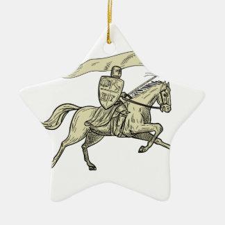 Knight Riding Horse Shield Lance Flag Drawing Ceramic Ornament