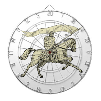 Knight Riding Horse Shield Lance Flag Drawing Dartboard