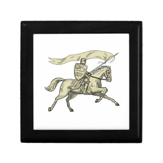 Knight Riding Horse Shield Lance Flag Drawing Gift Box