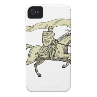 Knight Riding Horse Shield Lance Flag Drawing iPhone 4 Cases