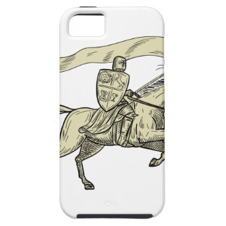 Knight Riding Horse Shield Lance Flag Drawing iPhone 5 Case