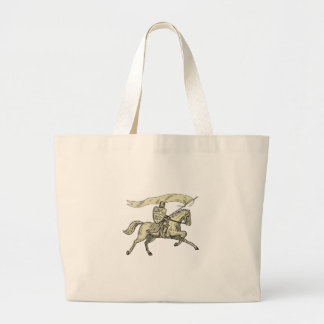 Knight Riding Horse Shield Lance Flag Drawing Large Tote Bag