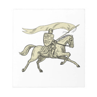 Knight Riding Horse Shield Lance Flag Drawing Notepad