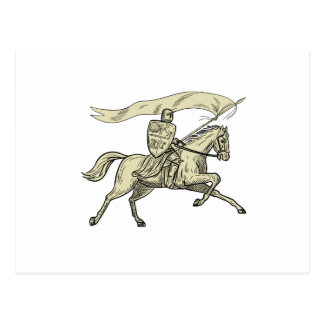 Knight Riding Horse Shield Lance Flag Drawing Postcard