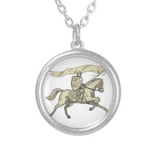 Knight Riding Horse Shield Lance Flag Drawing Silver Plated Necklace