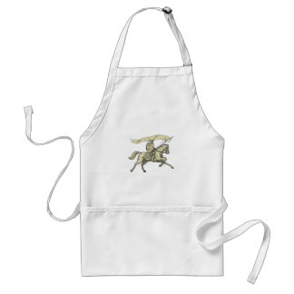 Knight Riding Horse Shield Lance Flag Drawing Standard Apron