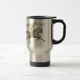 Knight Riding Horse Shield Lance Flag Drawing Travel Mug