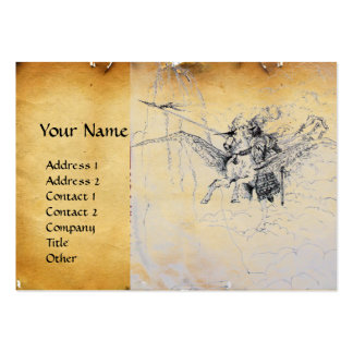 KNIGHT RIDING ON PEGASUS parchment Business Card Template