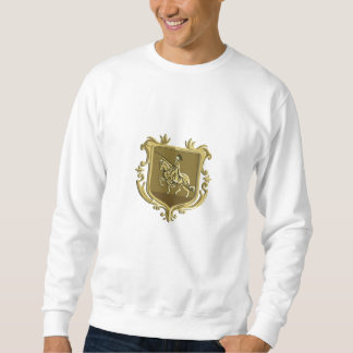 Knight Riding Steed Lance Coat of Arms Retro Sweatshirt