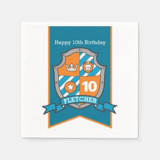 Knight shield 10th birthday medieval party napkins