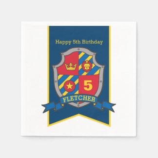 Knight shield 5th birthday medieval party napkins