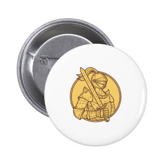 Knight Sword On Shoulder Circle Mono Line 2 Inch Round Button
