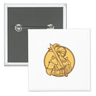 Knight Sword On Shoulder Circle Mono Line 2 Inch Square Button