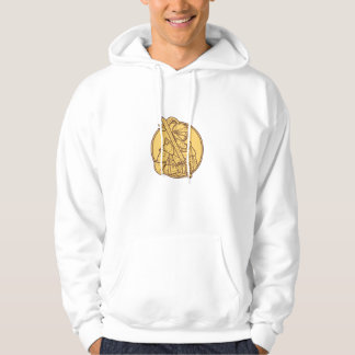 Knight Sword On Shoulder Circle Mono Line Hoodie