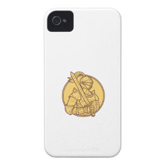 Knight Sword On Shoulder Circle Mono Line iPhone 4 Case