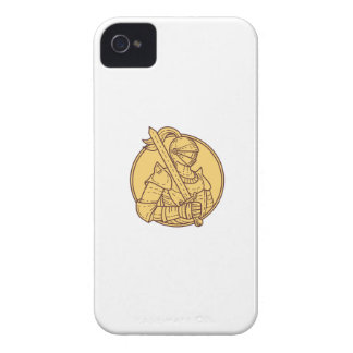 Knight Sword On Shoulder Circle Mono Line iPhone 4 Case-Mate Case