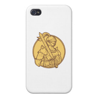 Knight Sword On Shoulder Circle Mono Line iPhone 4 Cover