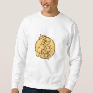 Knight Sword On Shoulder Circle Mono Line Sweatshirt