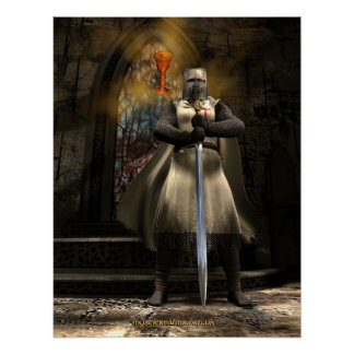 Knight Templar and Holy Grail Poster