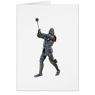 Knight walking to the right with mace card
