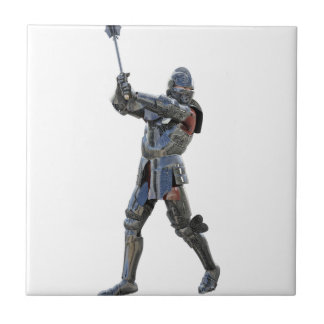 Knight walking to the right with mace ceramic tiles