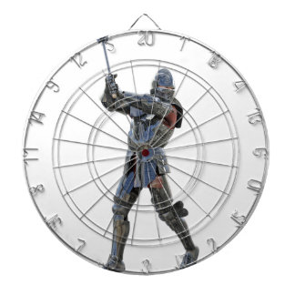 Knight walking to the right with mace dartboard