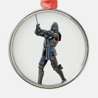 Knight walking to the right with mace Silver-Colored round ornament