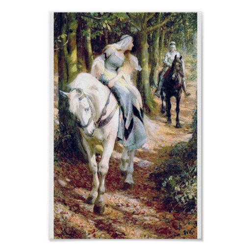 knight white horse lady forest poster