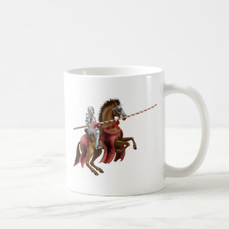 Knight with lance on horse coffee mug