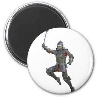 Knight with Mace Leaping to The Right 2 Inch Round Magnet