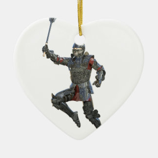 Knight with Mace Leaping to The Right Ceramic Heart Ornament