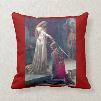 Knighted in medieval castle throw pillow