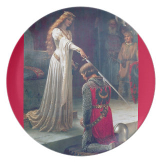 Knighted lady sword knight antique painting dinner plate
