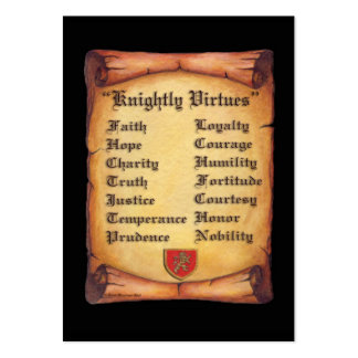 Knightly Virtues Pack Of Chubby Business Cards