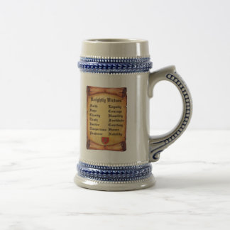 Knightly Virtues Two Scrolls Beer Stein