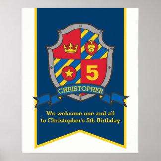 Knights boys 5th birthday heraldry shield welcome poster