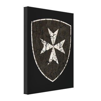 Knights Hospitaller Cross, Distressed Canvas Print