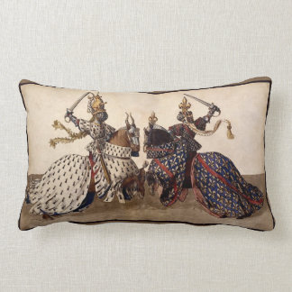 Knights jousting lumbar pillow