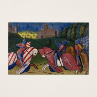 Knights jousting medieval combat illustration business card