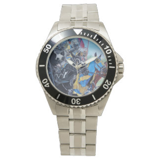 knights jousting on horses historic art wristwatch