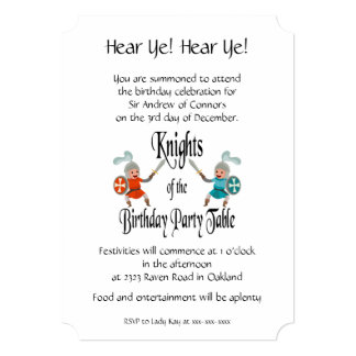 Knights of the Birthday Party Table Card