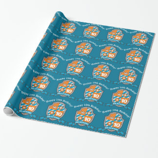 knights shield boys 10th birthday wrapping paper