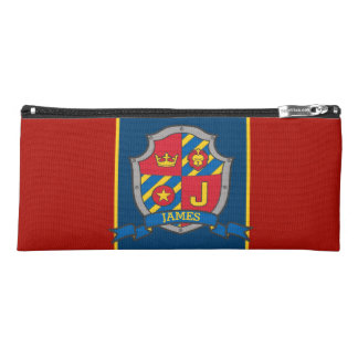 Knights shield James name meaning red blue case Pencil Case