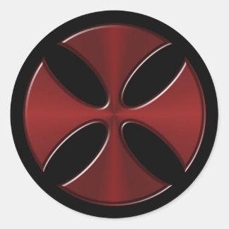 Knights Templar Cross Classic Round Sticker