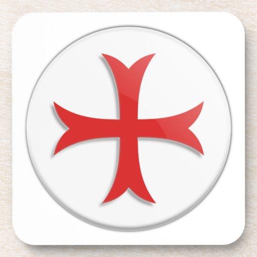 Knight's Templar Cross Symbol Drink Coasters