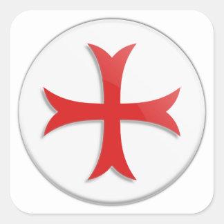 Knight's Templar Cross Symbol Square Sticker