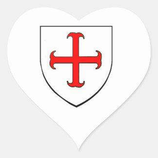 Knights Templar Crusade Shield Heart Sticker