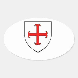 Knights Templar Crusade Shield Oval Sticker