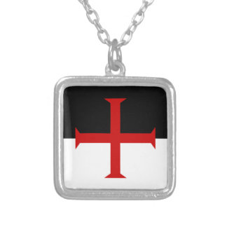 Knights Templar Flag Silver Plated Necklace