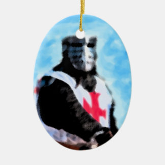 KNIGHTS TEMPLAR Double-Sided OVAL CERAMIC CHRISTMAS ORNAMENT